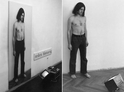 reden blattlartig 1976 Stück für Ausstellungsbesucher  Fotoleinen 186 x 90 cm Endlosband  Galerie Pakesch Wien 1981
